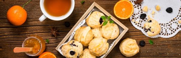 Mini Scones Variety. Orange and Blueberry Mini Scone Cookies. Selective focus.